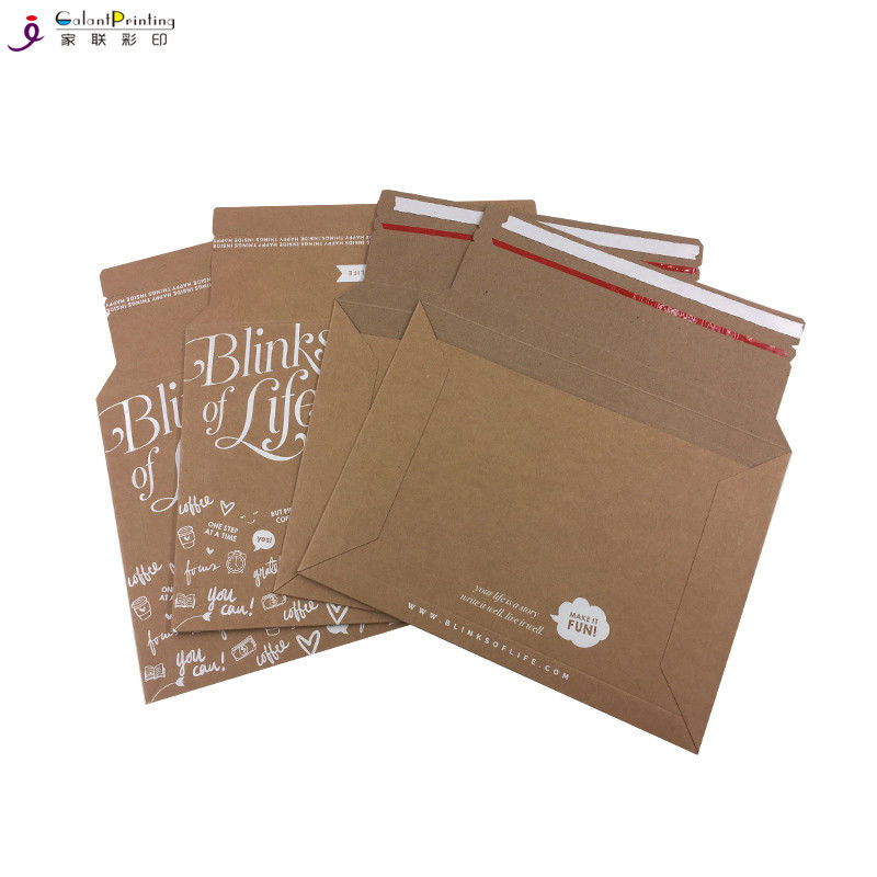 A5  Envelope Printing Services Rigid Kraft Cardboard Mailers Envelopes With Self Adhesive